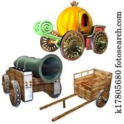 Carriage of pumpkin and Cart and Gu