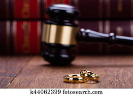 Close-up Of Wedding Rings With Gavel