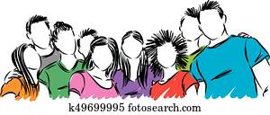 gesellschaft, von, jung, studenten, vektor, abbildung