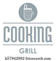 Meat cooking logo, simple gray style