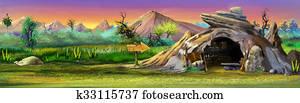 Stone cave. Panorama