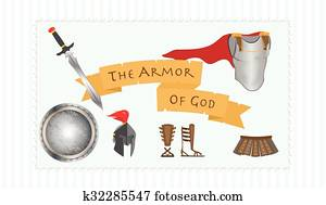 The Armor of God Christianity Message Protestant Warrior Vector Illustration
