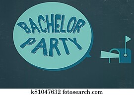 Word writing text Bachelor Party. Business concept for Party given for a man who is about to get married Stag night Megaphone in Flag up Mailbox Announcement Direct Marketing Dialog box.