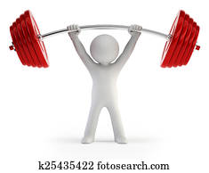 3d small people - Athlete lifting weights