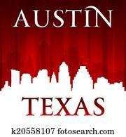 Austin Texas city skyline silhouette red background