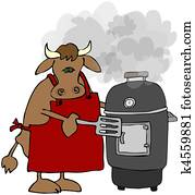 Cow Cooking On A Smoker Grill