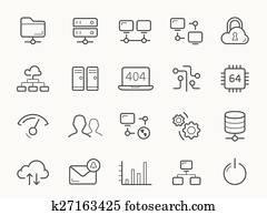 vernetzung, Hosting, und, server, linie, Icons.