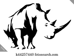 black and white linear paint draw rhino vector illustration