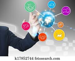 businessman press Social media