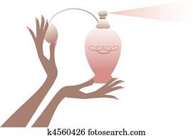 hand, mit, parfüm, bottle,, vektor