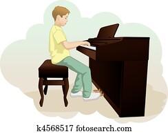 kindern, und, klavier