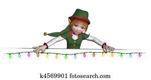 Santa's Elf is Hanging Christmas Lights