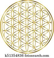 00032 Spiritual Flower of Life Gold Illustration 1