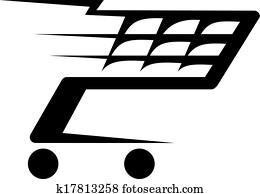 abstrakt, abbildung, von, a, einkaufswagen, bewegen