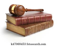 Gavel and lawyer books isolated on white. Justice, law and legal concept.