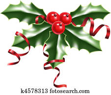 holly berries and ribbons