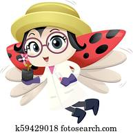 Lady Bug Mascot Botanist Illustration