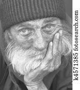 nachdenklicher, portrait-homeless, mann