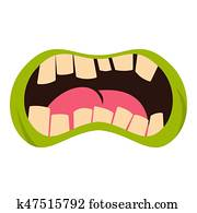 Open zombie mouth icon isolated
