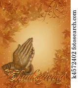 Thanksgiving border Praying hands