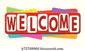Welcome banner or label for business promotion