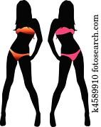 bikini, frau, silhouette