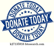 donate today grunge retro blue isolated ribbon stamp
