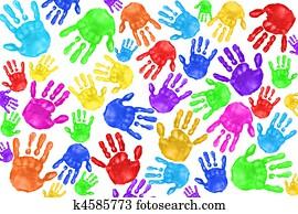 Handpainted Handprints of Kids