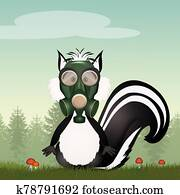 illustration of skunk with gas mask