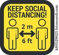 Keep safe social distance sign