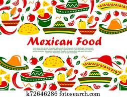 Mexican cuisine food, Mexico restaurant menu