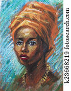 painting of a young black woman