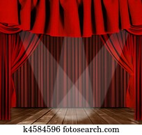Stage Drapes With 3 Spotlights Focused Center Stage