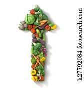 Vegetables arrow. Healthy food concept.