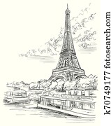 vektor, hand, zeichnung, paris, 3