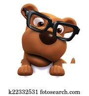 3d Dog wearing glasses peeps over the top