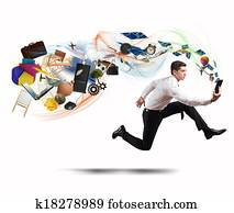 Business creativity with running businessman