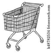 Cartoon image of Cart Icon. Shopping symbol