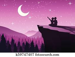 couple pointing to the moon in a night with stars sitting on cliff and close to a pine forest, silhouette style