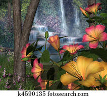 Hibiscus Flowers with Waterfalls