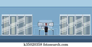 Man Working Data Center Technical Room Hosting Server Database