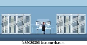 mann, arbeitende, daten zentrieren, technische, zimmer, hosting, server, datenbank