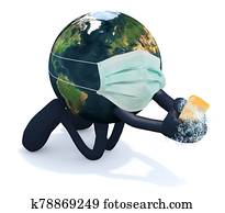 planet earth washes his hands, 3d illustration