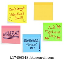 Reminder notes - Valentine, Mothers Day, Fathers Day