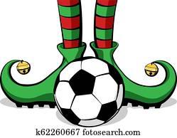 Soccer or Football Christmas Elf Feet