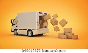 white delivery truck with cardboard boxes. 3d rendering