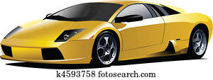 Yellow sport car on the road. Vec