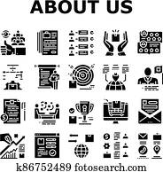 About Us Presentation Collection Icons Set Vector