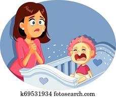 baby weinen, neben, besorgt, mutter, vektor, abbildung