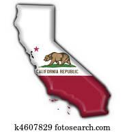 California (USA State) button flag map shape